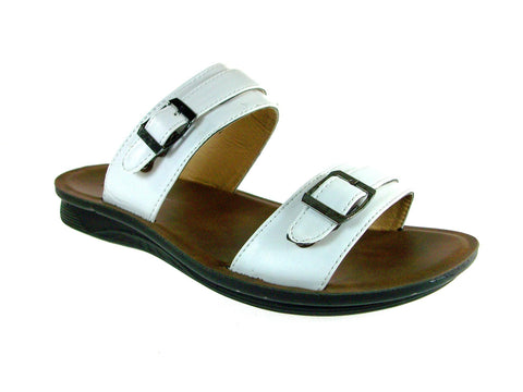 Mens Majestic Double Strap Slip On Sandals 28523 White