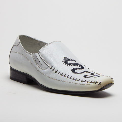 Boys Conal Dragon Stitch Leather Slip On Dress Loafers Shoes K-6977L White - Jazame, Inc.