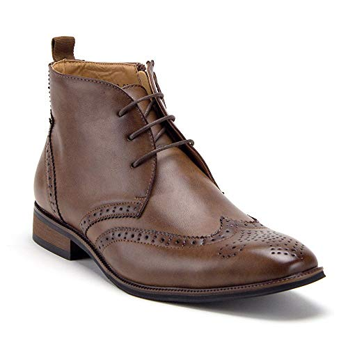 Men's VW314 Classic Ankle High Lace Up & Zipped Wing Tip Dress Boots - Jazame, Inc.