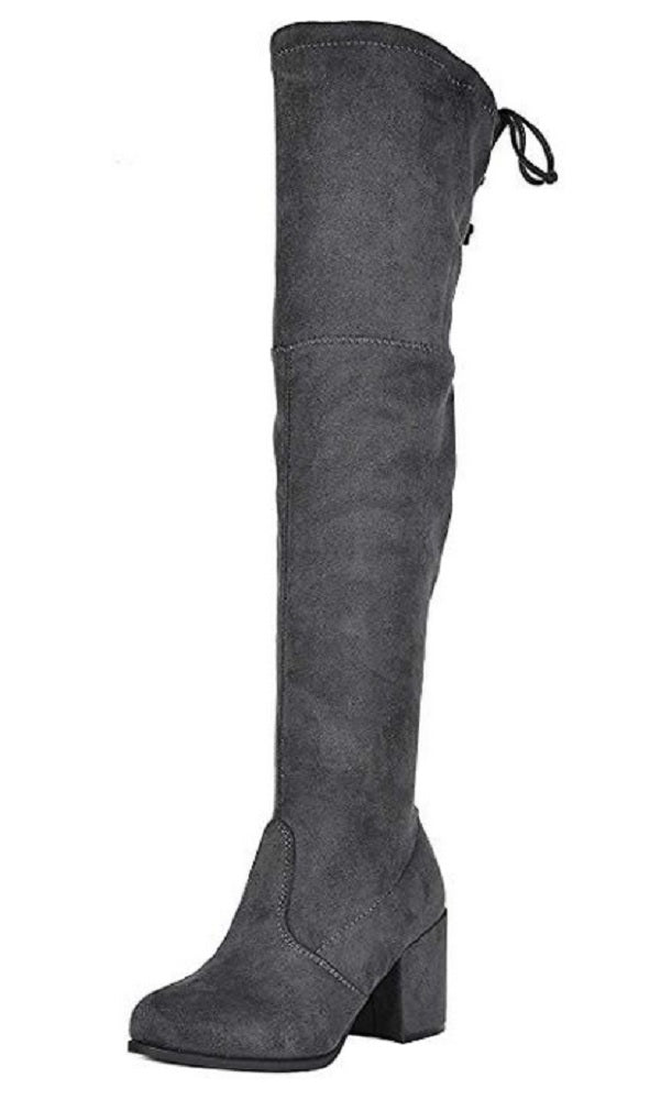 Jazamé Women's Grace Vegan Suede Over The Knee Thigh High Block Heel Dress Boots