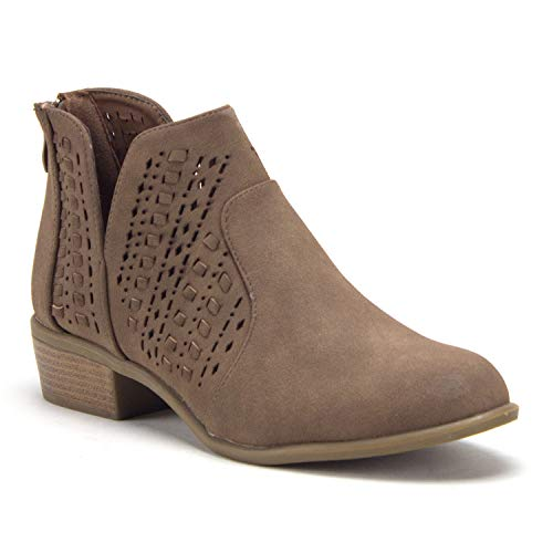 Women's Essie Laser Cut V-Cut Open Side Zipped Nubuck Ankle High Boots - Jazame, Inc.