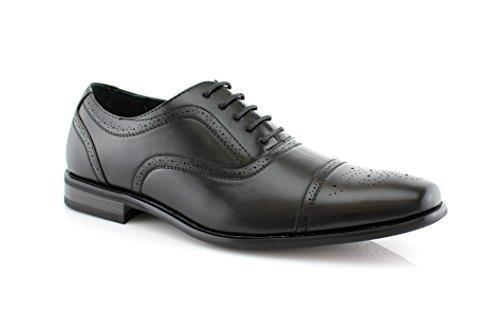 Men's M-19006 Lace Up Leather Lining Cap Toe Oxford Dress Shoes - Jazame, Inc.