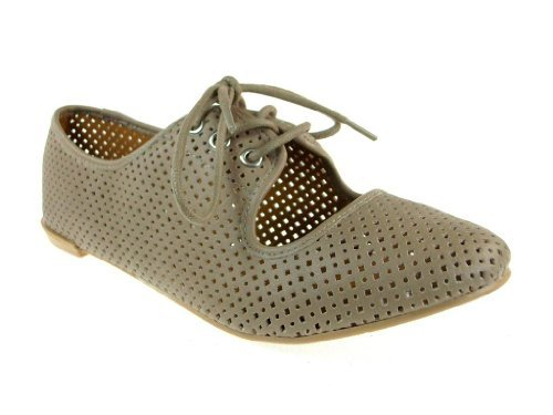 Women's Salya-747 Lace up Perforated Oxfords Shoes - Jazame, Inc.