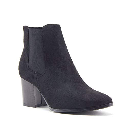 Women's Ankle High Tall Pointed Toe Chunky Block Heel Chelsea Dress Boots