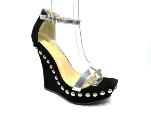 Women's Mallika-34 Embellishment Stud Meatallic Strap Wedge Sandals - Jazame, Inc.