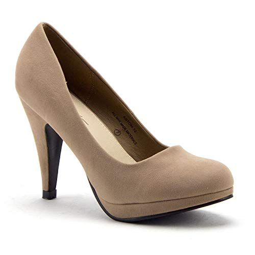 Women's Aston-12 Classic Round Toe Slip On Nude Suede Pumps Heels Dress Shoes