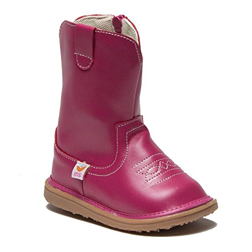 Mooshu Toddler Girl's Tall Stitched Squeaky Cowgirl Boots - Jazame, Inc.