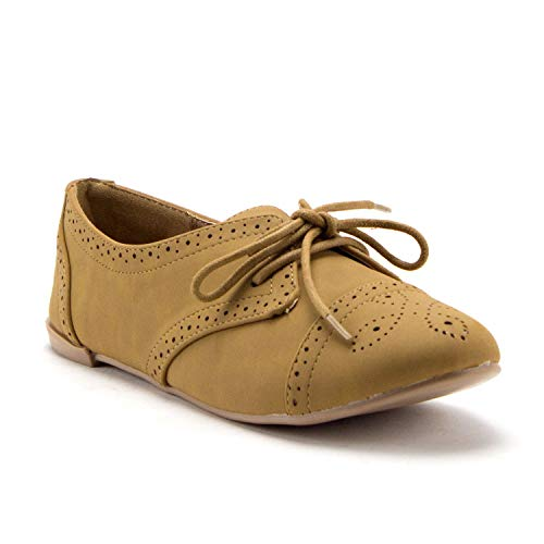 Women's Salya-748 Laser Cut Out Nubuck Lace Up Perforated Oxfords Shoes - Jazame, Inc.