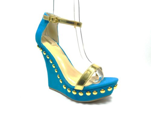 Women's Mallika-34 Embellishment Stud Meatallic Strap Wedge Sandals