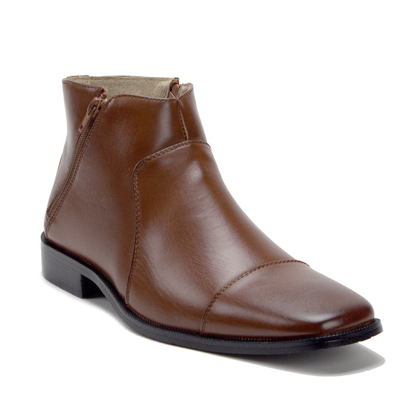 Men's 38893 Leather Lined Double Zip Cap Toe Dress Ankle Boots - Jazame, Inc.