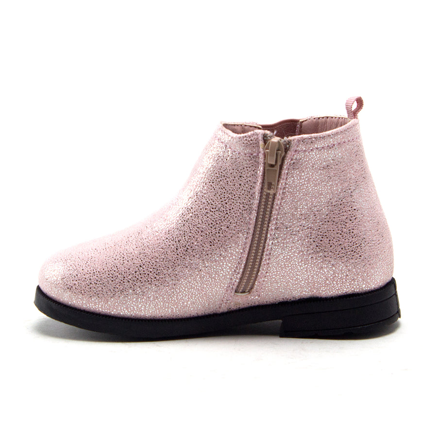 Little Toddler Girls' Ankle High Metallic Shine Booties Zipped Chelsea Dress Boots