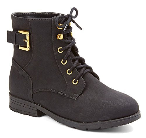 Girls Gianna-918 Military Style Lace-Up Combat Dress Boots - Jazame, Inc.