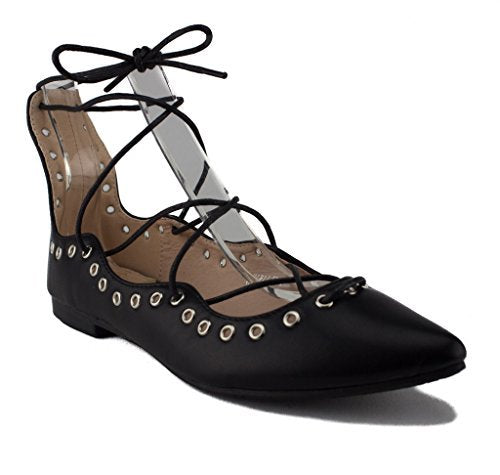 Women's Danielle Lace up Ankle High Ballet Flats Shoes