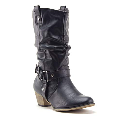 Women's Tall Ruched Western Chunky Heel Pull On Cowboy Cowgirl Dress Boots