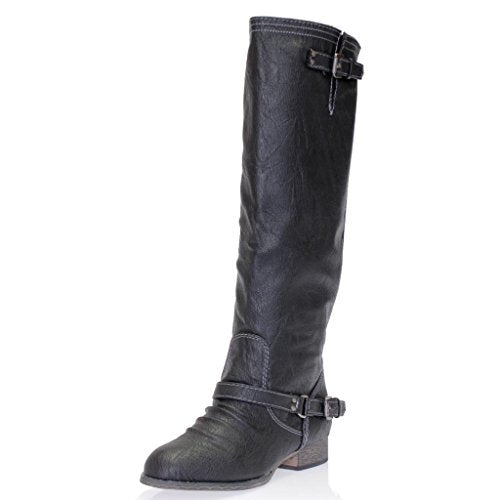 Women's Outlaw-11 Knee High Ankle Strap Tall Riding Boots - Jazame, Inc.
