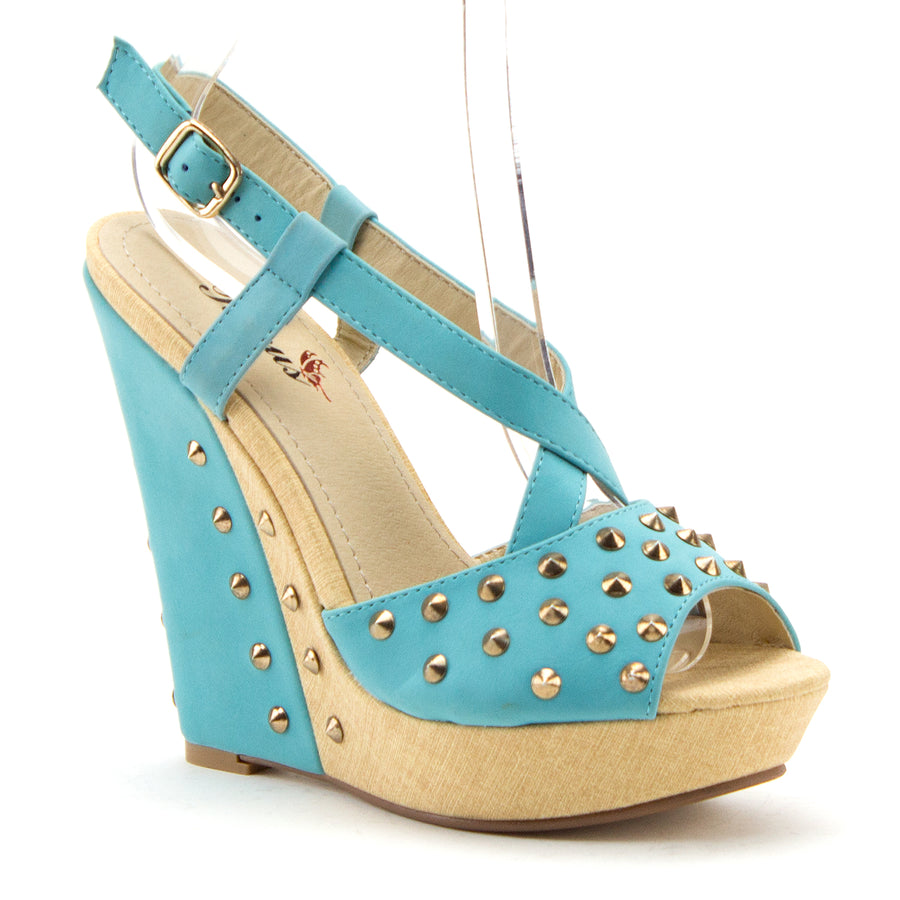 Women's BLW-08 Casual Studded Espadrilles Platform Wedges Strappy Sandals - Jazame, Inc.