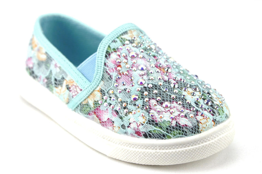Girls FHX-08I Crystal Bling Slip On Floral Lace Canvas Shoes - Jazame, Inc.