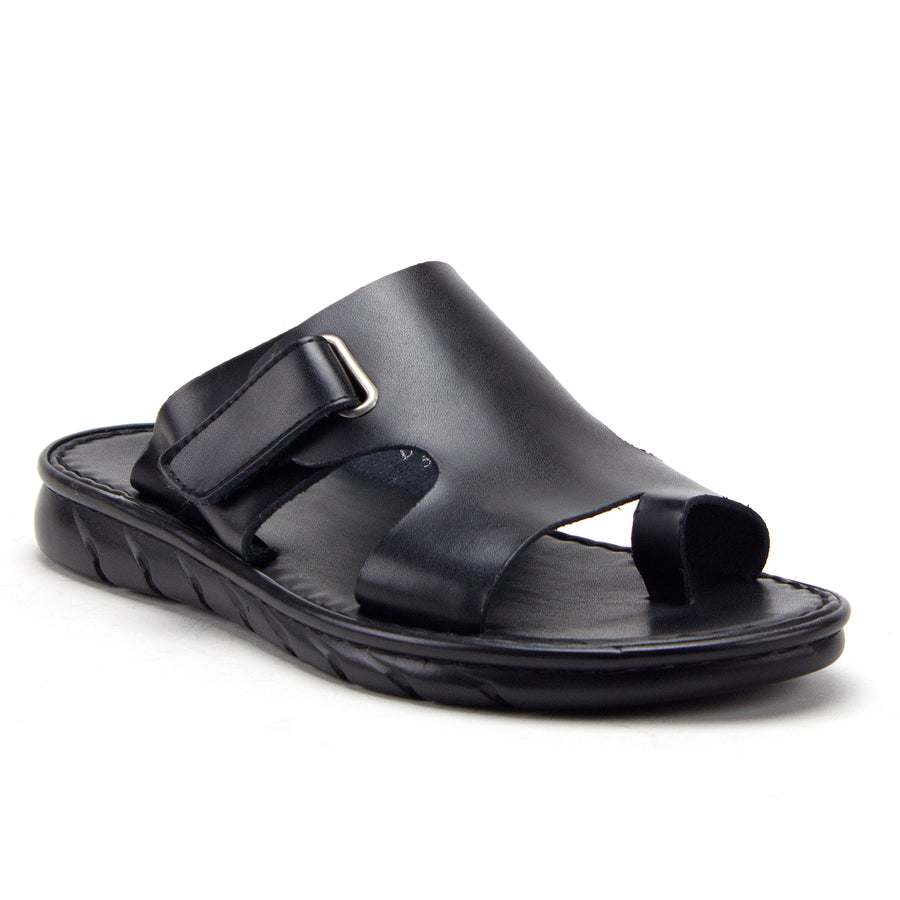 Men's 69213 Leather Slip On Peasant Toe Loop Roman Flip Flop Dress Sandals - Jazame, Inc.