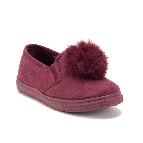 Girls CAL-02K Slip On Pom Pom Sneakers Loafers Shoes - Jazame, Inc.