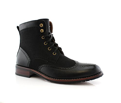 Men's MPX-808567 Lace Up Wing Tip Perforated Dress Boot - Jazame, Inc.