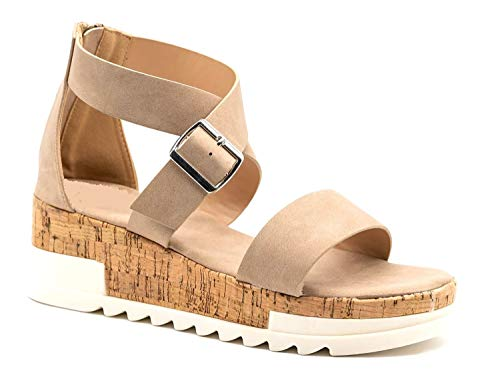 Women's Treaded Chunky Cork Zipped Espadrilles Flatform Sandals