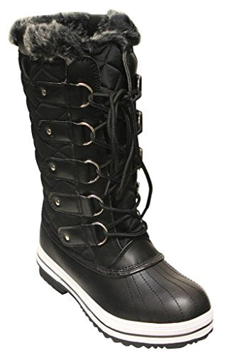 Women's Wind-02 Lace Up Waterproof Quilted Mid Calf Snow Boots - Jazame, Inc.