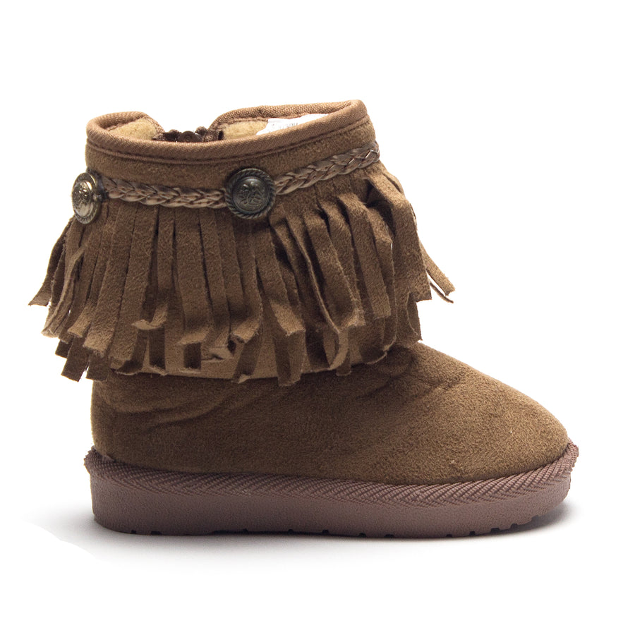 Girls BYX-25I Toddlers Suede Moccasin Fringe Ankle Boots - Jazame, Inc.