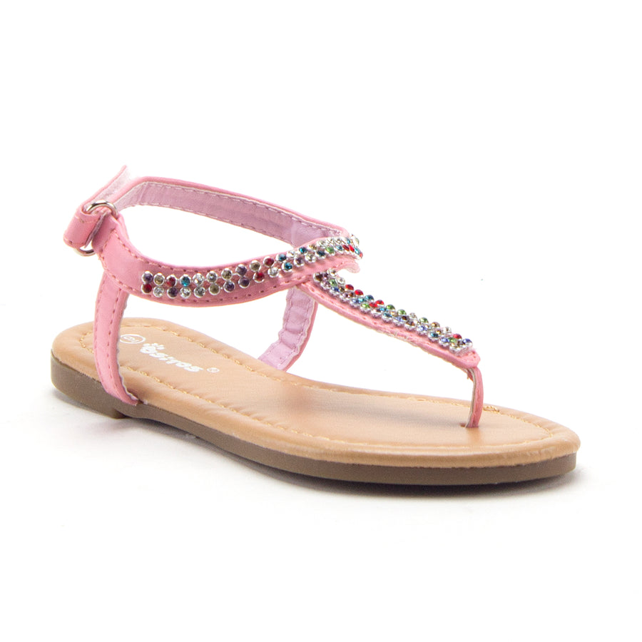 Girls 2710 Rhinestone Rainbow Crystals T-Strap Fashion Sandals Available for Toddlers - Jazame, Inc.