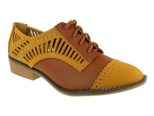 Women's Vinci-22 Snake Textured 2-Tone Laser Cut Oxfords Shoes