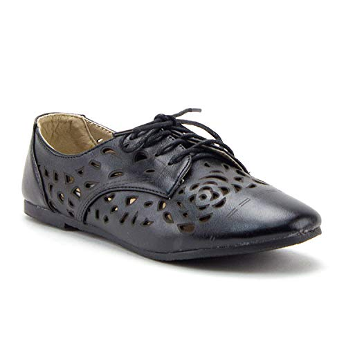 Women's Stacy-25 Lace Up Perforated Oxfords Laser Cut Designer Dress Shoes - Jazame, Inc.