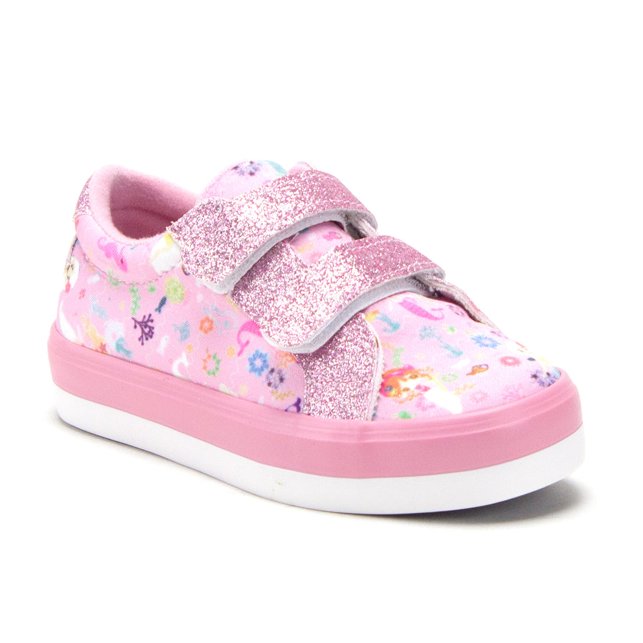 Toddler Little Girls Mermaid Print Twinkle Glitter Sneakers Flats Shoes
