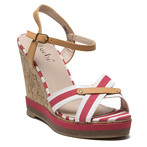 Women's Abbie-1 Nautical Sailor Stripe Platform Wedges Sandals - Jazame, Inc.