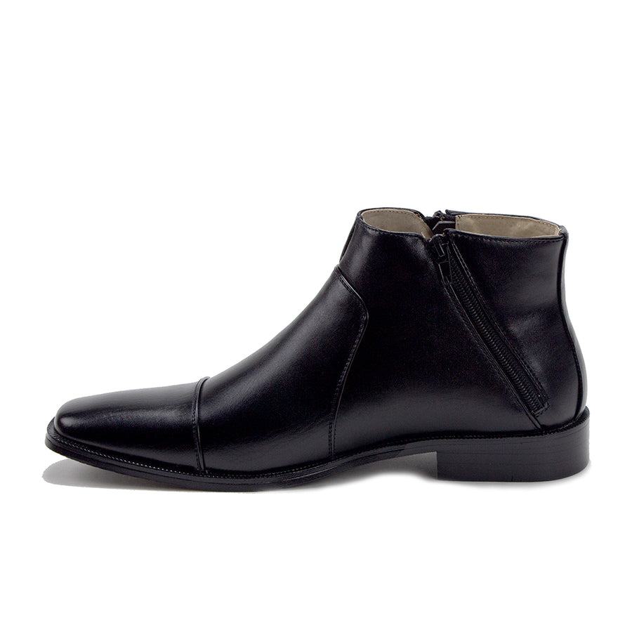 Men's 49904 Leather Lined Double Zip Cap Toe Dress Bootie Ankle Boots - Jazame, Inc.