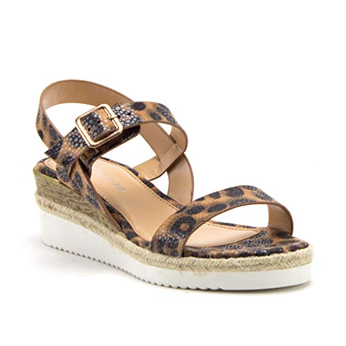 Women's Wanda-4 Stacked Flatform Espadrilles Slingback Strappy Open Toe Wedge Sandals - Jazame, Inc.
