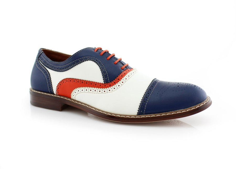 Men's M-19355 Classic Tri Color Perforated Lace Up Dress Oxford Shoes - Jazame, Inc.