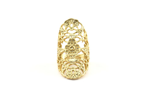 Gold Boho Ring, 1 Gold Plated Brass Adjustable Boho Rings N143 Q389