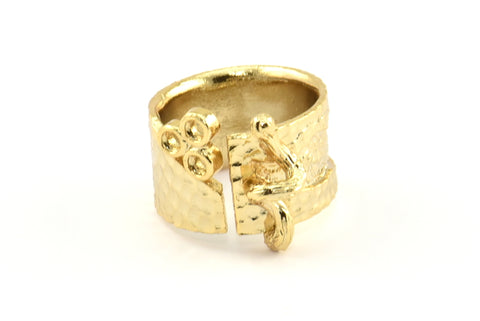 Gold Ethnic Ring, 1 Gold Plated Brass Ring Settings N156 Q392