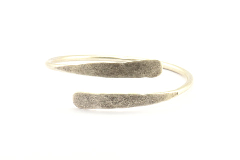 Hand Hammered Cuff, 1 Antique Silver Plated Brass Hand Hammered Cuff Bracelet Bangle (68x3mm) V080 H328