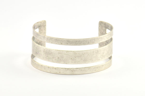Antique Silver Cuff Bangle, 1 Antique Silver Plated Cuff Bracelet Bangle (30x156x0.80mm) Brc037