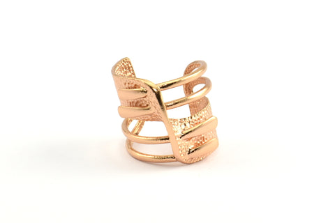Rose Gold Adjustable Ring, 1 Rose Gold Plated Adjustable Rings N004 Q283