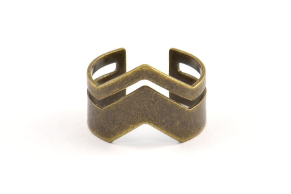 Antique Bronze Chevron Ring, 5 Antique Bronze Plated Brass Adjustable Ring Setting - 16-17mm / 23 Gauge Mn02