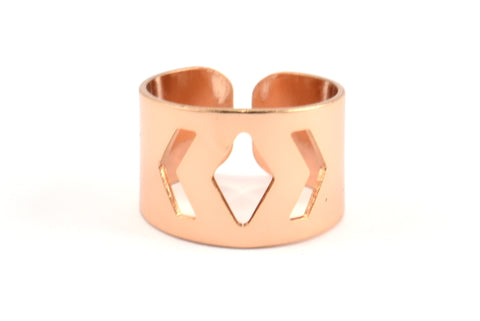 Rose Gold Geometric Ring, 2 Rose Gold Plated Adjustable Geometric Ring Settings (19mm) A0883 Q315