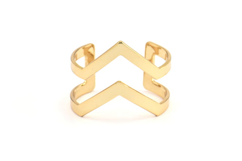 Double Chevron Ring, 3 Gold Double Chevron Adjustable Rings Settings (16x17mm) 23 Gauge Mn03 Q311