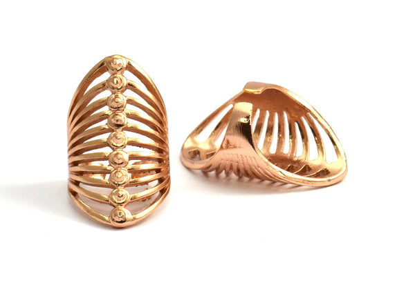 Rose Gold Brass Cage Ring - 1 Rose Gold Plated Brass Adjustable Cage Rings N015 Q224