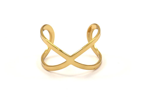 Gold Infinity Ring - 6 Gold Plated Adjustable Infinity Ring Settings - 16-17mm / 23 Gauge Mn30 Q220
