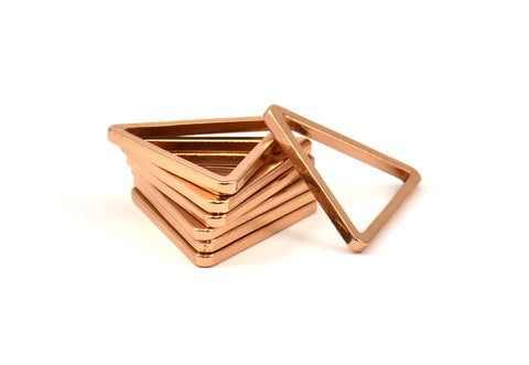 Rose Gold Triangle Charm, 6 Rose Gold Plated Brass Triangles (27x27x27x2.5mm) Brc 138 N563