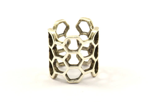 Antique Silver Honeycomb Ring - 2 Antique Silver Plated Adjustable Honeycomb Rings N014 H212
