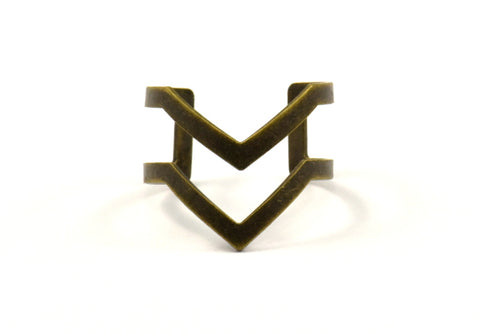 Antique Bronze Double Chevron Ring - 4 Antique Silver Plated Double Chevron Adjustable Rings Settings (16x17mm) 23 Gauge Mn03