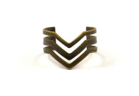 Antique Bronze Chevron Ring - 3 Antique Bronze Plated Adjustable Triple Chevron Rings (16x17mm / 23 Gauge) Mn01