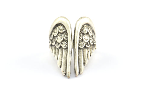 Antique Silver Wing Ring, 2 Antique Silver Plated Brass Adjustable Wings Rings D406 H543